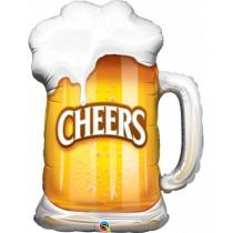 Globo metalizado forma Cheers! de 35 pulgadas - 88,9 cm