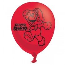 Globos rojos y azules de Super Mario - Látex 28cm. 6 Unidades por Pack