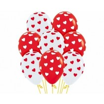Globo Latex R12 Sempertex Fashion Corazones Clasicos Rojo Y Blan 30cm