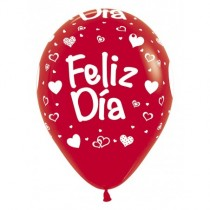 Globo Latex R12 Sempertex Fashion Solido Rojo Feliz Dia Corazones 30cm