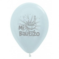 Globo Latex R12 Sempertex Perlado Blanco Mi Bautizo 30cm