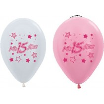 Globo Latex R12 - Rosado y Blanco- Fashion - Mis 15 anos