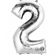 Globo Número 2 Plateado - Aluminio 34 pulgadas