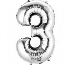 Globo Número 3 Plateado - Aluminio 34''