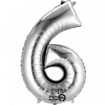 Globo Número 6 Plateado - Aluminio 34''
