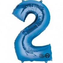 Globo Número 2 Azul - Aluminio 34 pulgadas