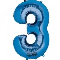 Globo Número 3 Azul - Aluminio 34''