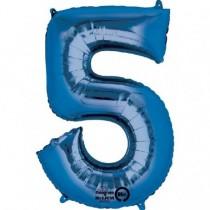 Globo Número 5 Azul - Metalizado 86cm