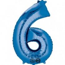 Globo Número 6 Azul - Aluminio 34''