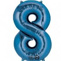 Globo Número 8 Azul - Metalizado 86cm