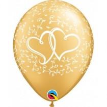 Globo de látex 11 pulgadas corazones entrelazados (27,9cm) Color oro 10 Unidades