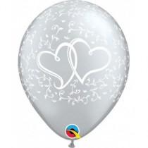 Globo de látex 11 pulgadas corazones entrelazados (27,9cm) Color plata 10 Unidades