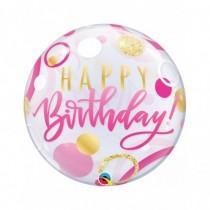 Globo Burbuja Transparente Empacado De 22 pulgadas. (55,8cm) Feliz cumpleaños puntos rosa y oro
