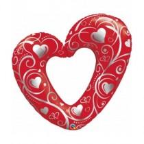 Globo 42 pulg. (106,6cm) corazones y filigrana rojo
