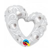 Globo 14 pulg. (35,5cm)corazones y filigrana blanco
