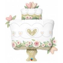 Globo 41 pulg. (104,1cm) Forma Pastel de bodas de oro brillo