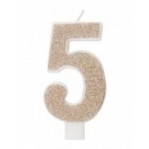 Vela De Número Con Purpurina Oro Número - 5