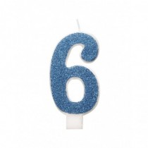 Vela De Número Con Purpurina Azul Número - 6