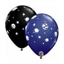 Globo latex 11 pulg. (27,9cm)Azul marino y negro diversion celestial - 10 ud