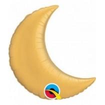 Globo foil 09 pulg. (22,8cm) forma de luna color oro