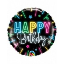Globo foil 18 pulgadas. (45,72 cm) color negro glow Feliz Cumpleaños
