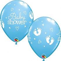Globos latex 11 pulgadas. (27,9cm) Azul baby Shower huellas - 10 ud