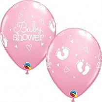 Globos latex 11 pulgulgadas. (27,9cm) Rosa baby Shower huellas - 10 ud