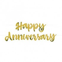 Decoracion letras color oro Happy Anniversary