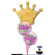 Ramo de globos Corona de cumpleaños rosa y oro