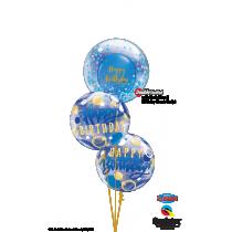 Ramo de globos Burbuja de cumpleaños azul y oro