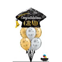 Ramo de globos graduación oro y negro