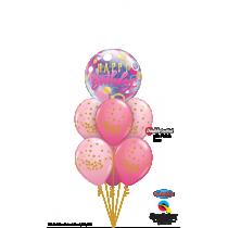 Ramo de globos feliz cumpleaños rosa con oro