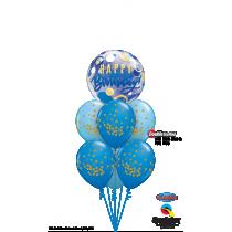 Ramo de globos feliz cumpleaños azul con oro
