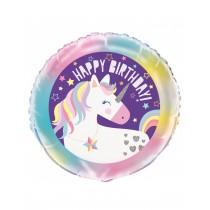 Globo foil redondo (45,7cm) feliz cumpleaños unicornio