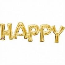 Globo frase HAPPY oro