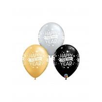 Globo de latex 11 pulg. (27,9cm) Feliz Año Nuevo 25 ud