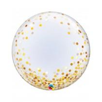 Globo Burbuja Transparente Empacado De 24 Pulgadas 61 Cm - Confeti Oro