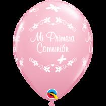 Globo de latex 11 pulg. (27,9cm) rosa Primera Comunion Mariposas
