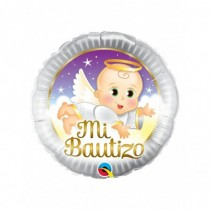 Globo foil redondo 18 pulg. Mi Bautizo Angel Baby 45 cm