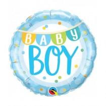 Globo foil redondo 18 pulg. (45,7cm) Baby Boy azul