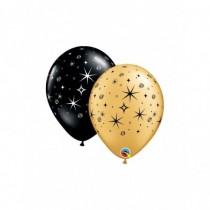 Globo de latex 11 pulg. (27,9cm) negro y oro estrellas y espirales