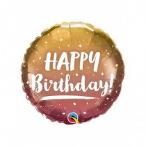 Globo foil redondo 18 pulg. (45,7cm) Feliz Cumpleaños oro y rosa