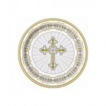Platos cruz comunión 8 ud
