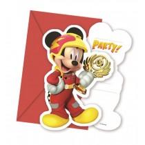 Invitacion Forma y sobres Mickey Coches
