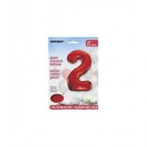 Globo de foil 34 pulg (86,36 cm) Rojo numero - 2