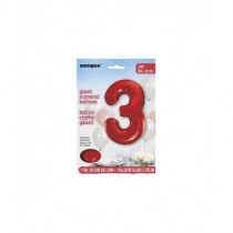 Globo de foil 34 pulg (86,36 cm) Rojo numero - 3
