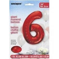 Globo de foil 34 pulg (86,36 cm) Rojo numero - 6