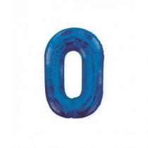 Globo de foil 34 pulg (86,36 cm) Azul Glitz numero - 0