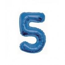 Globo de foil 34 pulg (86,36 cm) Azul Glitz numero - 5