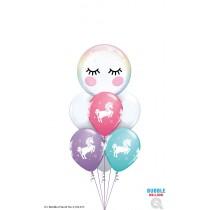 Ramo de globos Burbuja unicornio dulce